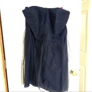 Blue Strapless Tulle Dress with Full Skirt